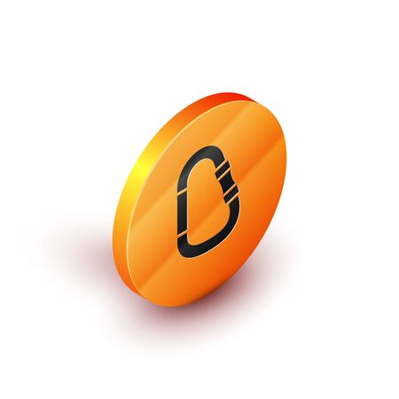 Isometric Carbine icon isolated on white background. Extreme sport. Sport equipment. Orange circle button. Vector Illustration