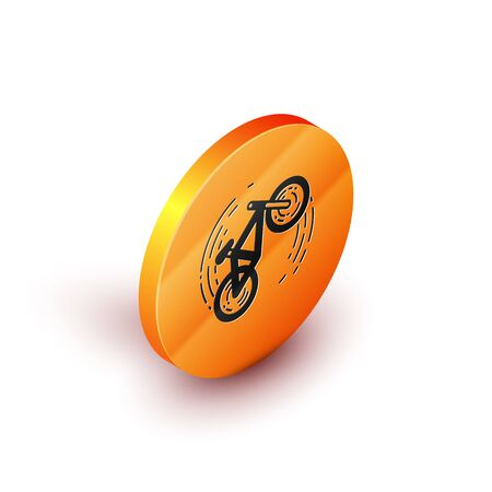 Isometric Bicycle trick icon isolated on white background. Bike race. Extreme sport. Sport equipment. Orange circle button. Vector Illustration