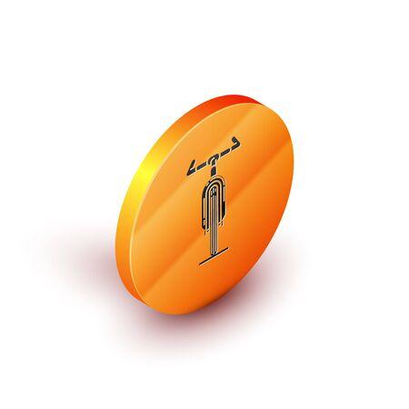 Isometric Bicycle icon isolated on white background. Bike race. Extreme sport. Sport equipment. Orange circle button. Vector Illustration Illustration