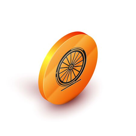 Isometric Bicycle wheel icon isolated on white background. Bike race. Extreme sport. Sport equipment. Orange circle button. Vector Illustration Vectores