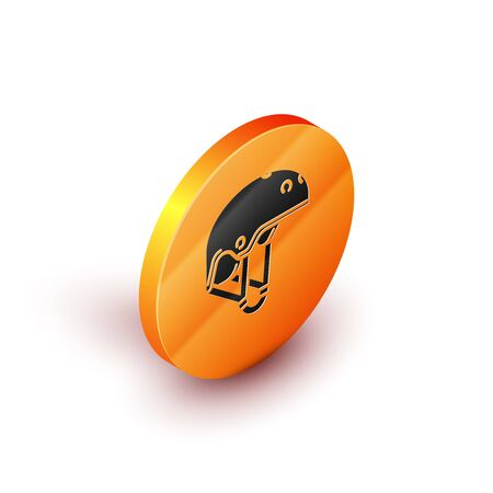 Isometric Helmet icon isolated on white background. Extreme sport. Sport equipment. Orange circle button. Vector Illustration