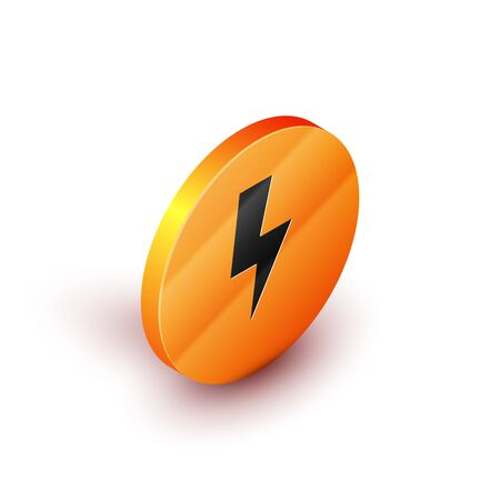 Isometric Lightning bolt icon isolated on white background. Flash sign. Charge flash icon. Thunder bolt. Lighting strike. Orange circle button. Vector Illustration