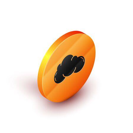 Isometric Cloud icon isolated on white background. Orange circle button. Vector Illustration