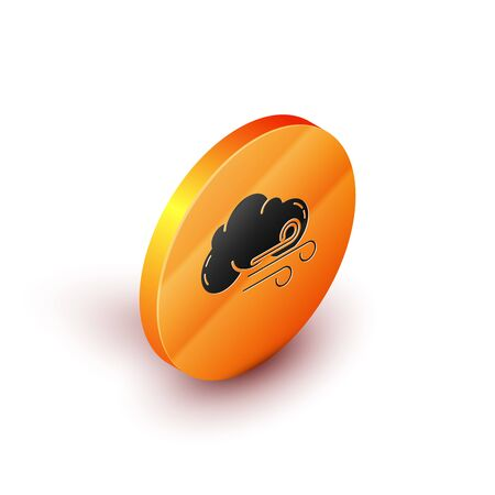 Isometric Windy weather icon isolated on white background. Cloud and wind. Orange circle button. Vector Illustration