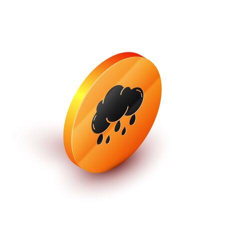 Isometric Cloud with rain icon isolated on white background. Rain cloud precipitation with rain drops. Orange circle button. Vector Illustration