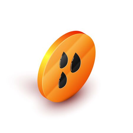 Isometric Water drop icon isolated on white background. Orange circle button. Vector Illustration