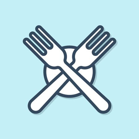 Blue line Crossed fork icon isolated on blue background. Cutlery symbol. Vector Illustration