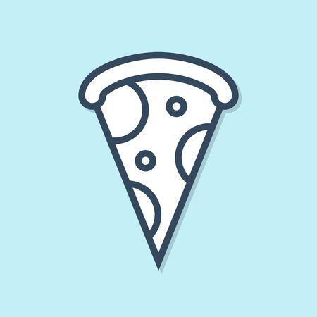 Blue line Slice of pizza icon isolated on blue background. Fast food menu. Vector Illustration Иллюстрация