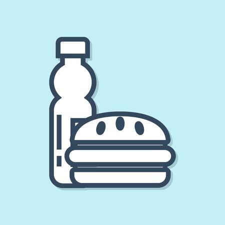 Blue line Bottle of water and burger icon isolated on blue background. Soda aqua drink sign. Hamburger, cheeseburger sandwich. Fast food menu. Vector Illustration Ilustração