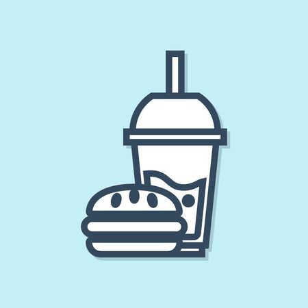 Blue line Paper glass with drinking straw and burger icon isolated on blue background. Soda aqua drink sign. Hamburger, cheeseburger sandwich. Vector Illustration