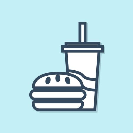 Blue line Paper glass with drinking straw and burger icon isolated on blue background. Soda aqua drink sign. Hamburger, cheeseburger sandwich. Vector Illustration Imagens - 129882343