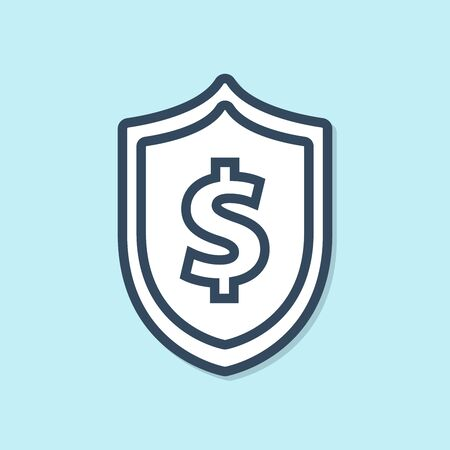Blue line Shield with dollar symbol icon isolated on blue background. Security shield protection. Money security concept. Vector Illustration