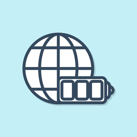 Blue line Battery charge level indicator with earth globe icon isolated on blue background. World or Earth sign. Vector Illustration