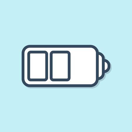 Blue line Battery charge level indicator icon isolated on blue background. Vector Illustration Ilustração