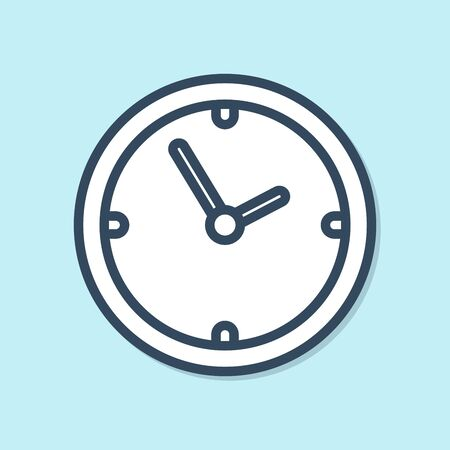 Blue line Clock icon isolated on blue background. Time symbol. Vector Illustration