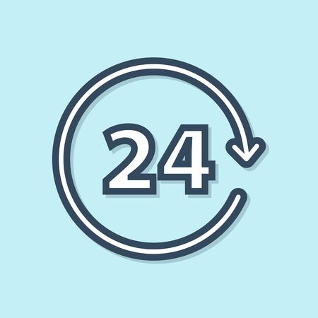 Blue line Clock 24 hours icon isolated on blue background. All day cyclic icon. 24 hours service symbol. Vector Illustration