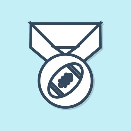 Blue line American Football ball with medal icon isolated on blue background. Vector Illustration Illusztráció