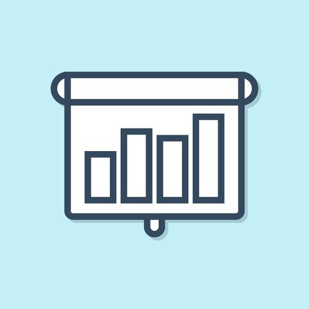 Blue line Presentation financial business with graph, schedule, chart, diagram, infographic, pie graph icon isolated on blue background. Vector Illustration  イラスト・ベクター素材