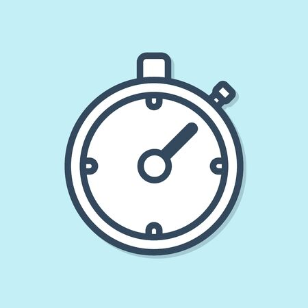 Blue line Stopwatch icon isolated on blue background. Time timer sign. Chronometer sign. Vector Illustration