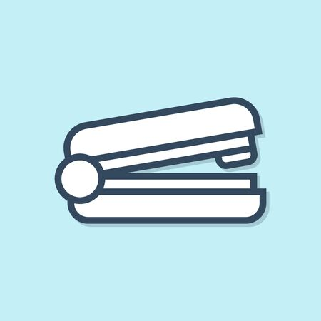 Blue line Office stapler icon isolated on blue background. Stapler, staple, paper, cardboard, office equipment. Vector Illustration