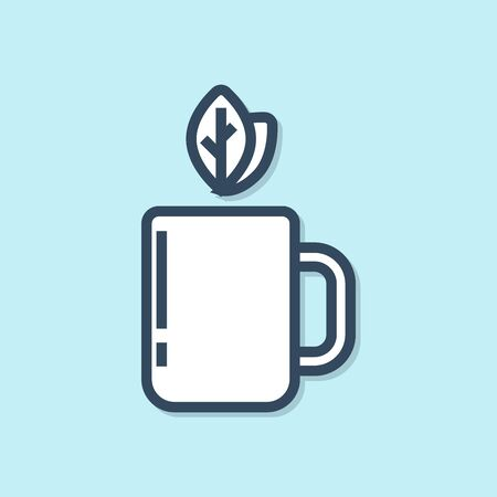 Blue line Cup of tea and leaf icon isolated on blue background. Vector Illustration