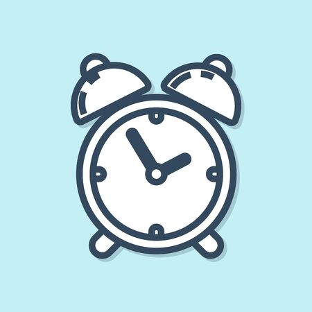 Blue line Alarm clock icon isolated on blue background. Wake up, get up concept. Time sign. Vector Illustration 向量圖像