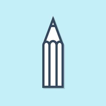 Blue line Pencil icon isolated on blue background. Education sign. Drawing and educational tools. School office symbol. Vector Illustration  イラスト・ベクター素材