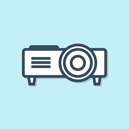 Blue line Presentation, movie, film, media projector icon isolated on blue background. Vector Illustration