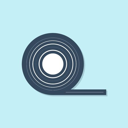 Blue line Scotch icon isolated on blue background. Roll of adhesive tape for work and repair. Sticky packing tape. Office tool and stuff. Vector Illustration