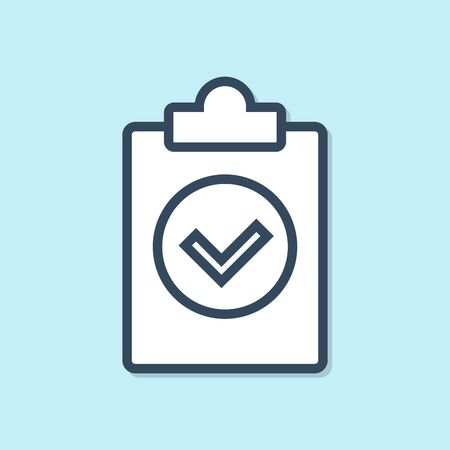 Blue line Completed task icon isolated on blue background. Compliance inspection approved. Checklist sign. Certified document symbol. Vector Illustration Ilustração