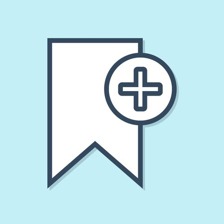 Blue line Bookmark icon isolated on blue background. Add to concept. Vector Illustration
