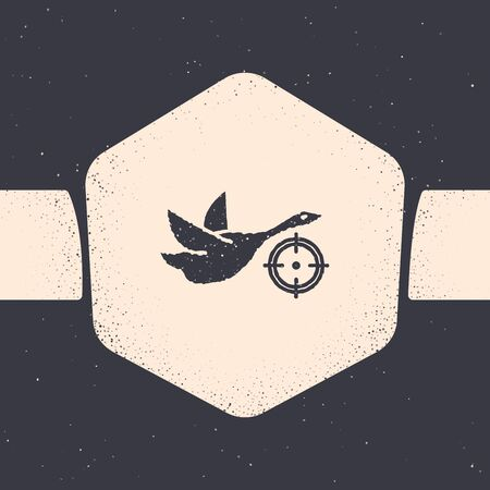 Grunge Hunt on duck with crosshairs icon isolated on grey background. Hunting club icon with duck and target. Rifle lens aiming a duck. Monochrome vintage drawing. Vector Illustration Ilustrace