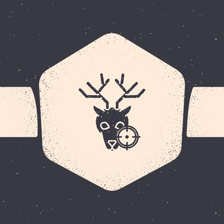 Grunge Hunt on deer with crosshairs icon isolated on grey background. Hunting club icon with deer and target. Rifle lens aiming a deer. Monochrome vintage drawing. Vector Illustration