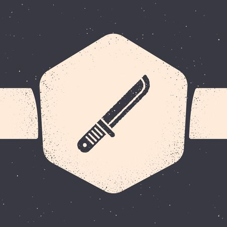 Grunge Hunter knife icon isolated on grey background. Army knife. Monochrome vintage drawing. Vector Illustration
