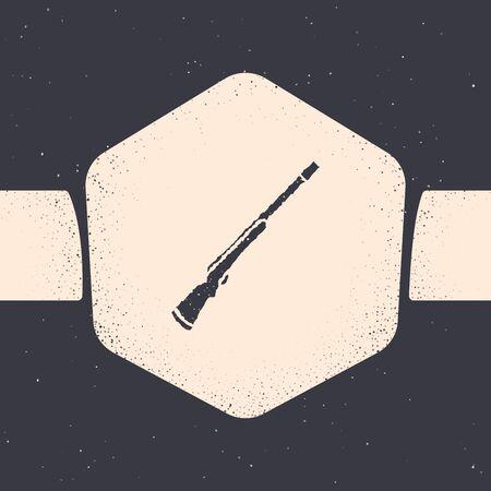Grunge Hunting gun icon isolated on grey background. Hunting shotgun. Monochrome vintage drawing. Vector Illustration Иллюстрация