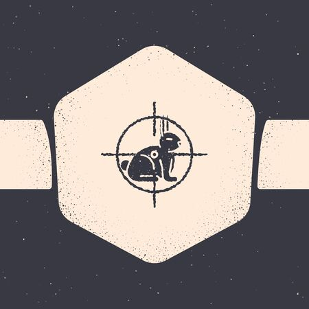 Grunge Hunt on rabbit with crosshairs icon isolated on grey background. Hunting club logo with rabbit and target. Rifle lens aiming a hare. Monochrome vintage drawing. Vector Illustration
