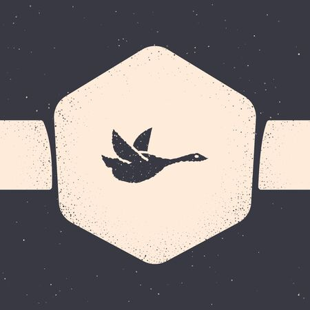 Grunge Flying duck icon isolated on grey background. Monochrome vintage drawing. Vector Illustration Ilustrace