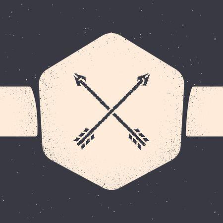 Icono de flechas cruzadas grunge aislado sobre fondo gris. Dibujo monocromático de la vendimia. Ilustración vectorial