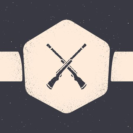 Grunge Two crossed shotguns icon isolated on grey background. Hunting gun. Monochrome vintage drawing. Vector Illustration Иллюстрация
