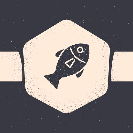 Grunge Fish icon isolated on grey background. Monochrome vintage drawing. Vector Illustration