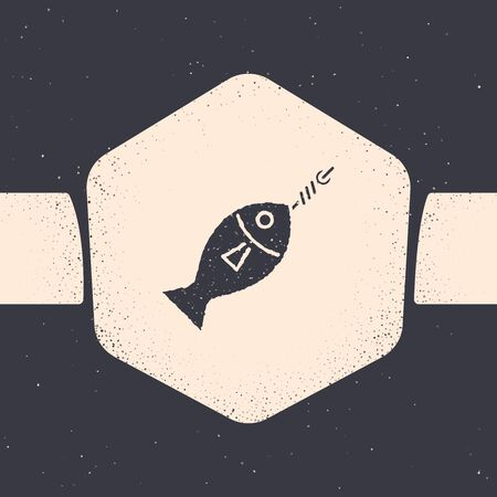 Grunge Fish on hook icon isolated on grey background. Monochrome vintage drawing. Vector Illustration