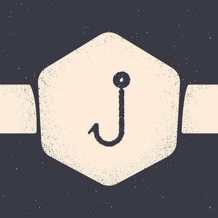 Grunge Fishing hook icon isolated on grey background. Fishing tackle. Monochrome vintage drawing. Vector Illustration