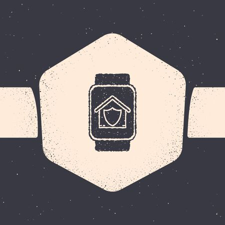 Grunge Smart watch with house under protection icon isolated on grey background. Protection, safety, security, protect, defense concept. Monochrome vintage drawing. Vector Illustration