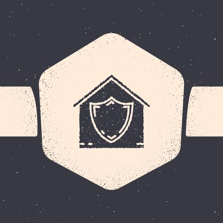 Grunge House under protection icon isolated on grey background. Protection, safety, security, protect, defense concept. Monochrome vintage drawing. Vector Illustration