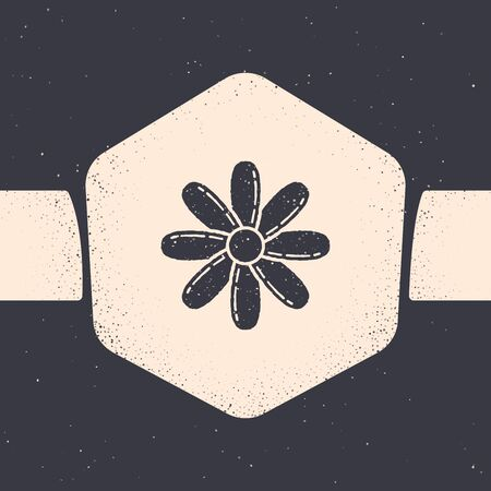 Grunge Flower icon isolated on grey background. Sweet natural food. Monochrome vintage drawing. Vector Illustration Foto de archivo - 129881038
