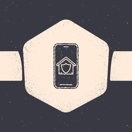 Grunge Mobile phone with house under protection icon isolated on grey background. Protection, safety, security, protect, defense concept. Monochrome vintage drawing. Vector Illustration Иллюстрация