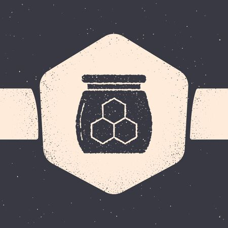 Grunge Jar of honey icon isolated on grey background. Food bank. Sweet natural food symbol. Monochrome vintage drawing. Vector Illustration Иллюстрация