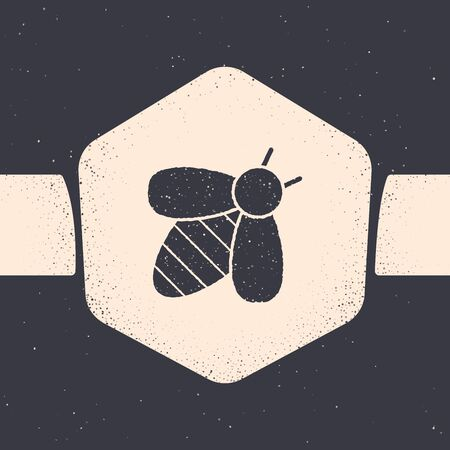 Grunge Bee icon isolated on grey background. Sweet natural food. Honeybee or apis with wings symbol. Flying insect. Monochrome vintage drawing. Vector Illustration