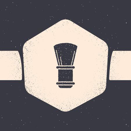 Grunge Shaving brush icon isolated on grey background. Barbershop symbol. Monochrome vintage drawing. Vector Illustration 矢量图像