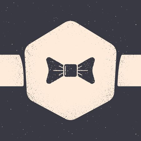 Grunge Bow tie icon isolated on grey background. Monochrome vintage drawing. Vector Illustration